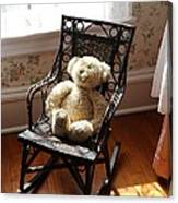 Teddy In Old Fashioned Rocker Canvas Print