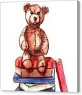 Teddy On Books Canvas Print