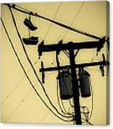 Telephone Pole And Sneakers 1 Canvas Print