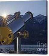 Telescope And Sunrise Canvas Print