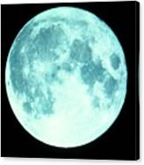 Telescope Photo Of Full Moon From Earth Canvas Print