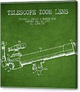Telescope Zoom Lens Patent From 1999 - Green Canvas Print