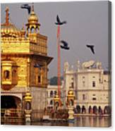 Temple At The Waterfront, Golden Canvas Print