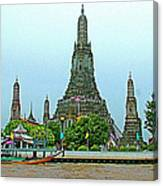 Temple Of The Dawn-wat Arun From Waterways Of Bangkok-thailand Canvas Print