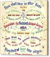 Ten Commandments Calligraphy 1889 Canvas Print