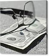 Ten Dollar And Eyeglasses Canvas Print