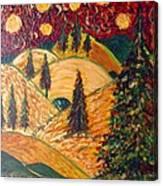 Ten Moons In Scarlet Sky Canvas Print