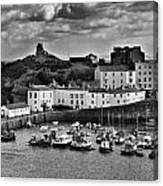 Tenby Panorama 1 Mono Canvas Print