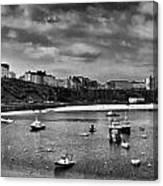 Tenby Panorama Mono 2 Canvas Print