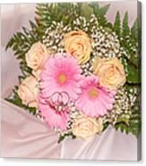 Tender Bridal Bouquet Witn Wedding Rings Canvas Print