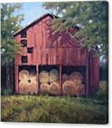 Tennessee Barn With Hay Bales Canvas Print