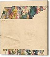 Tennessee Map Vintage Watercolor Canvas Print