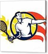 Tennis Player Flaming Racquet Ball Retro Canvas Print