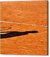 Tennis Player Shadow On A Clay Tennis Court Canvas Print
