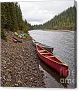 Tents And Canoes At Mcquesten River Yukon Canada Canvas Print