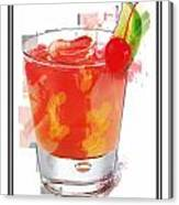 Tequila Sunrise Cocktail Marker Sketch Canvas Print
