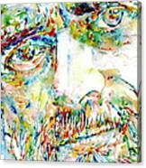 Terence Mckenna Watercolor Portrait.1 Canvas Print