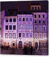 Terraced Historic Houses At Night In Warsaw Canvas Print