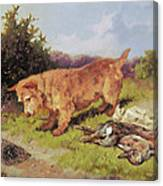 Terrier Watching A Rabbit Trap Canvas Print
