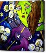 Tete Dans La Lune Canvas Print
