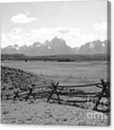 Teton Landscape With Fence - Black And White Canvas Print