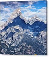 Teton Range And Two Trees Canvas Print