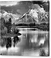 Tetons In Black And White Canvas Print