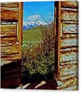Tetons Through Log House Window Canvas Print
