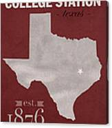 Texas A And M University Aggies College Station College Town State Map Poster Series No 106 Canvas Print