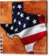 Texas American Flag Map Canvas Print