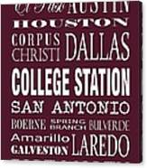 Texas Cities College Station Canvas Print