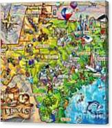 Texas Illustrated Map Canvas Print
