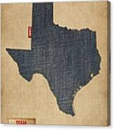 Texas Map Denim Jeans Style Canvas Print