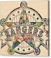 Texas Rangers Poster Art Canvas Print
