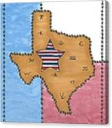 Texas Tried And True Red White And Blue Star Canvas Print