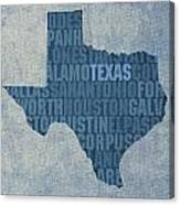 Texas Word Art State Map On Canvas Canvas Print