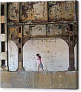 Texting Girl W/ Viaduct Canvas Print
