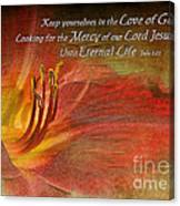 Textured Red Daylily With Verse Canvas Print