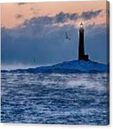Thacher Island Lighthouse Seagull Passes Canvas Print