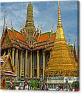 Thai-khmer Pagoda And Golden Chedis At Grand Palace Of Thailand  Canvas Print