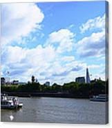 Thames with Blue Sky and Puffy Clouds Canvas Print
