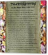 Thanksgiving By Ella Wheeler Wilcox Canvas Print