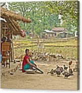 Tharu Farming Village Landscape-nepal Canvas Print