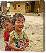 Tharu Village Children Love To Greet Us-nepal- Canvas Print