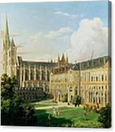 The Abbey Church Of Saint-denis And The School Of The Legion Of Honour In 1840 Oil On Canvas Canvas Print