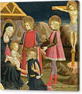 The Adoration Of The Kings And Christ On The Cross Canvas Print