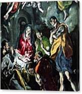 The Adoration Of The Shepherds From The Santo Domingo El Antiguo Altarpiece Canvas Print