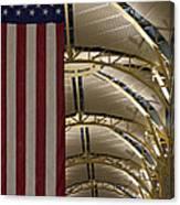 The American Flag At Reagan Airport Canvas Print