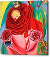The Angel Of Roses Canvas Print