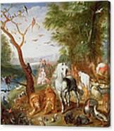 The Animals Entering Noahs Ark Panel Canvas Print